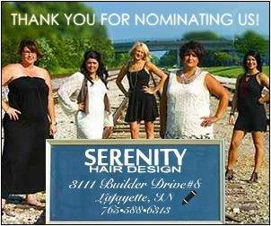 serenity hair design lafayette indiana readers choice award nomination