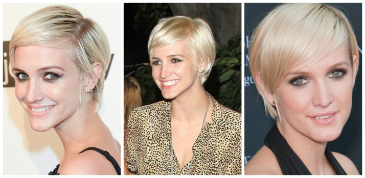 Ashlee Simpson's short hair cut is just long enough to tuck behind the ears to play up the hairstyle.