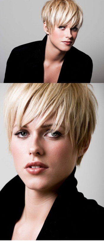 This forward-sweeping, wispy bang is fun, but make sure it will work with your face and hair before you have it cut. This particulat short haircut can look mushroom-y on the wrong person.
